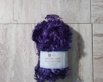 Purple Boa Yarn, Soft Fuzzy Polyester Yarn, Knit and Crochet Yarn, 50 gram ball, 1.7 oz, Destash Yarn