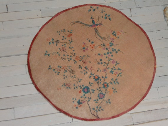 Dollhouse Vintage Art Nouveau Round Rug, Scale One Inch, TREASURY LIST