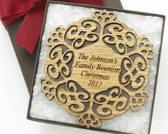 Custom Family Christmas Ornament - Personalized Holiday Gift Box Set - With Your Text - OAK - Made in the USA! Annabeth