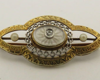 """Antique 1910 / 1920 14 kt Gold Single Cut Diamond & 2 Natural Seed Pearl 1.5"""" Pin w/ Frosted Quartz."""