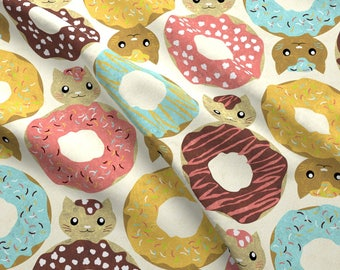 Donut Cats Fabric - Dunutcats By Gaiamarfurt - Abstract Cat Kitchen Decor Cotton Fabric By The Yard With Spoonflower