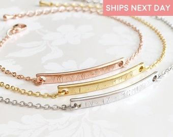 Roman Numeral Bracelet Engraved Bracelets For Women Custom Coordinates Bracelet Personalized Gift For Kids Best Friend Bracelet - 2BR