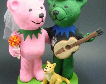 Jerry Bear with Guitar Wedding Cake Topper, Custom Made Grateful Dead Dancing Bears Wedding Cake Topper, Jerry Bear Wedding Cake Topper