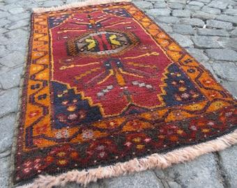 oushak small turkish rug , home rug, beni ourain rug small rug, 347