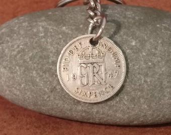 1947 King George VI British Sixpence Coin Keyring, English Coin Keychain. British Coin Key Ring, Lucky Sixpence