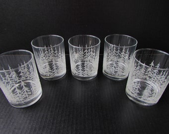 5 Vintage Holiday Rocks Glasses - White Frosted Pine Trees - Christmas Trees - Craft Cocktails - Whiskey Glasses - Holiday Cocktails