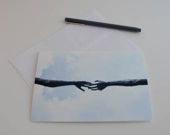 Friendship Blank Card, Greeting Photo Cards with Envelopes, Reaching Hands, Printed in Canada, by KarenMakes