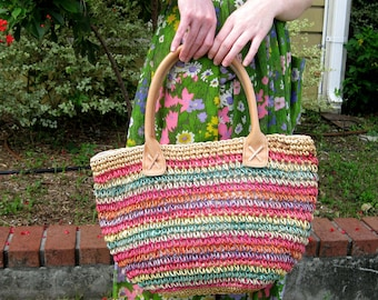 Large Rainbow Striped Staw Tote Bag - Very Roomy!