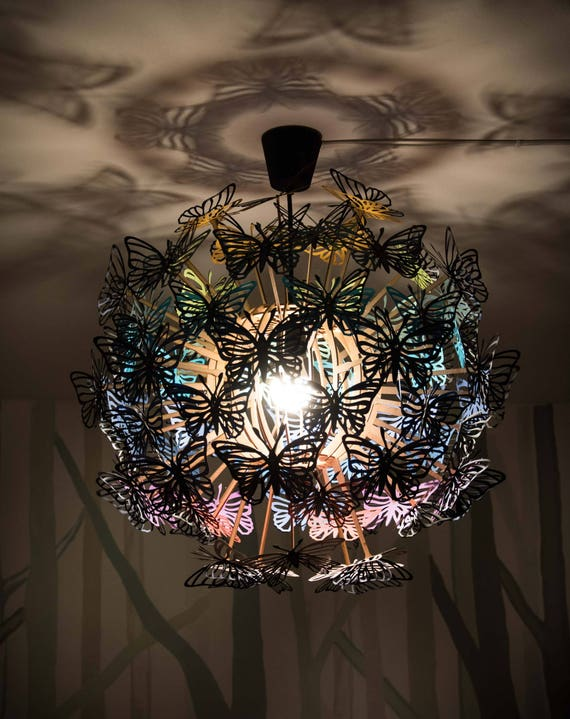 Butterfly Lampshade, Ceiling Light Nursery Decor, Wood Lamp Paper  Butterflies, Rainbow Butterflies Chandelier, Hanging Lamp Wood Pendant
