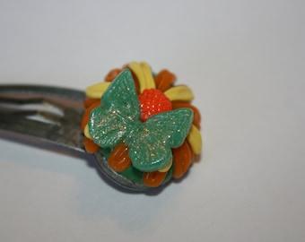 Butterfly Hair Clip/ Polymer Clay / Flower / Handmade