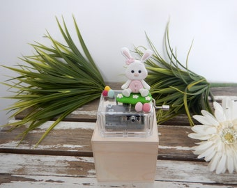 Gift box, music, Easter gift, rabbit, toy, rabbit polymer clay, music box, kids, Easter eggs