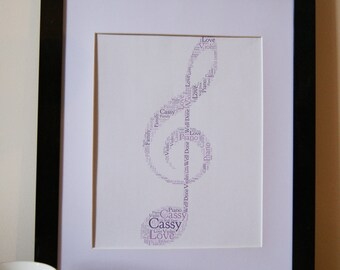 Personalised Word Art Print music piano violin card gift typography Frame