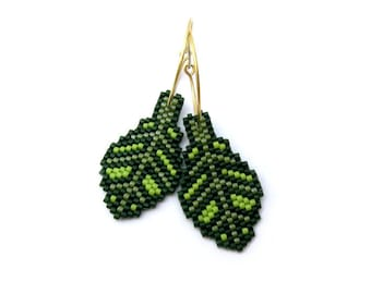 Earrings - Forest Bride - Can be custom made in your favorite colors - gold plated sterling silver or sterling silver hoops