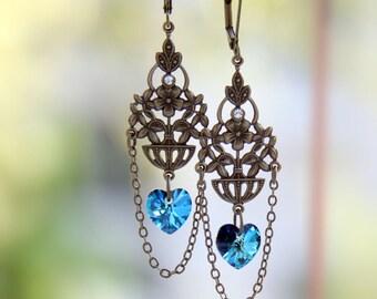 Boho Chic Flower Filigree Long Earrings-Blue Swarovski Heart