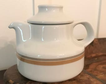 Vintage Bauscher Weiden White Individual Teapot with Tan Stripe | Made in Bavaria Germany