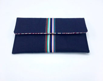 Navy blue clutch, linen clutch,nautical clutch,  preppy clutch, foldover clutch, summer clutch,  with striped grosgrain ribbon