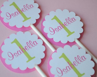 Cupcake Toppers - Girls 1st Birthday Party - Birthday Party Decorations - Pink and Lime Green - Personalized Cupcake Toppers - Set of 12