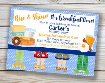Birthday Party - Breakfast - 5x7 Invitation - Customized Printable - Blue - Boy Birthday
