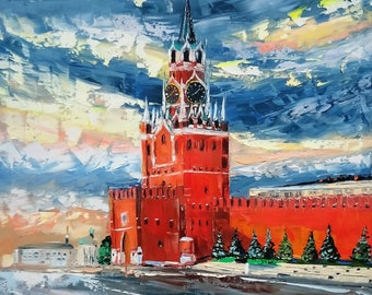 Moscow Kremlin; original palette knife oil painting on canvas