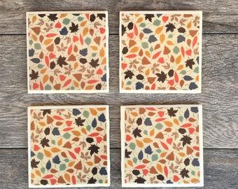 """Fall Leaves """"Benjamin"""" Ceramic Coasters"""