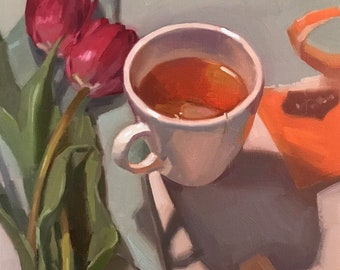 "Fine Art painting floral flowers still life ""Tulips and Tea"" 10x10"" original oil on canvas by Sarah Sedwick"