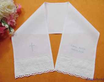 Christening scarf lace+embroidery+name+date plain weave 100% Cotton