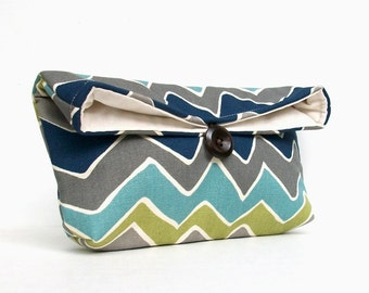Navy Blue Chevron Clutch, Gray Zigzag Clutch, Green, Charcoal, Teal, Chevron Makeup Bag, Bridesmaid Gift