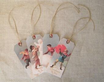Gift tags, set of 4 vintage labels