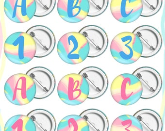 Letters and Numbers Button Badges. Choose your selection of letters to spell your favourite word