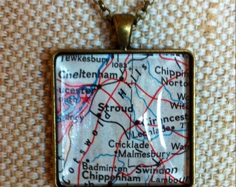 CLEARANCE! Vintage upcycled map pendant / bronze tone square pendant / Cotswold Hills England pendant