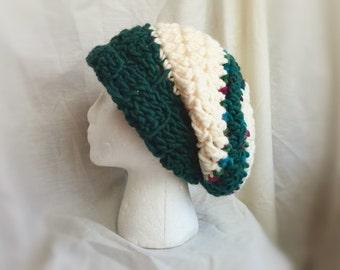 Crochet hat Super Chunky slouch wool cap  Winter beanie Forrest green cream teal stripes Spring rasta Retro hippie style fashion accessory