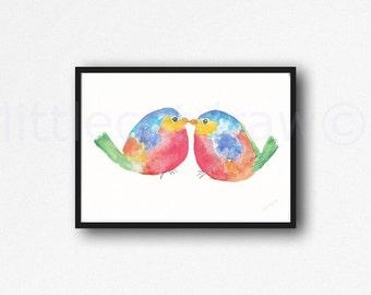 Bird Print Rainbow Kissing Birds Watercolor Painting Art Print Bird Art Bird House Wall Art Living Room Wall Decor Unframed