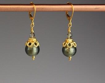 "Venetian Murano glass earrings, Venetian earrings, Murano earrings, Venetian glass earrings, Gold earrings - gift for her,""Gray Lace"""