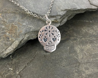 Sterling Silver Sugar Skull Necklace, Mexican Sugar Skull Necklace, Day of the Dead Necklace,  Dia De Los Muertos