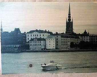 """Photo """"incrustée"""" sur un beau bloc de bois - Suède"""