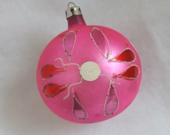 Vintage glass ornament ball ornament Christmas ornament pink ornament hand painted ornament Poland ornament