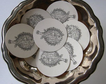 Pufferfish Tags Round Gift Tags Set of 10
