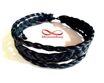 Black leather braided bracelet handmade adjustable gift for friend Unisex 100% Moroccan leather