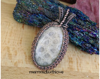 Fossilized Coral Pendant in antiqued copper