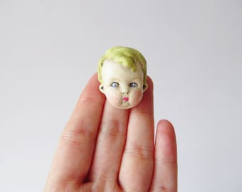 Antique Doll Pin - Green Haired Boy Brooch