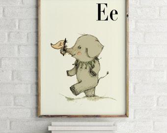 Elephant print, nursery animal print, safari nursery, alphabet letters, abc letters, alphabet print, animals prints for nursery