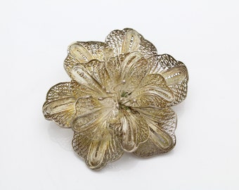 Vintage Sterling Silver Filigree Floral Brooch. [4216]
