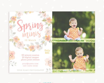 Spring Mini Session Template, Spring minis, Spring Marketing Board, Photoshop Template, Watercolor, Floral, Spring Mini Sessions Template