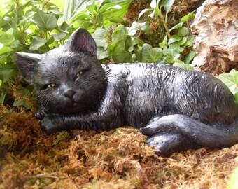 Black Cat Statue, Black Cat Decor, Solid Black Or Black/Gray Witches Cat,  Halloween Black Cat, Black Cats, Garden Cat Statue,