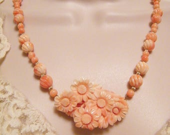 Magnificent Angel Skin Coral Carved Bead and Floral Pendant Necklace