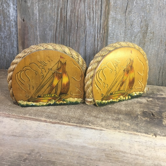 Vintage pair of wood and rope sail boat bookends, vintage handpainted bookends, sailors bookends, nautical bookends, nautical decor