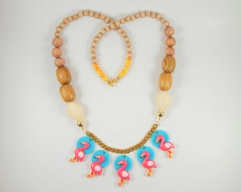 Colorful necklace, Statement Necklace, Flamingo Necklace, Unique jewelry, Oversize necklace, Colorful jewelry, Wood necklace, gift for her