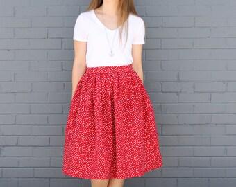 Polka Dot Skirt: Irregular Polka In Lipstick