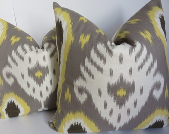 Ikat Pillow Cover, Yellow Gray Pillow Cover- Yellow Pillow - Decorative Pillows - Grey Pillow