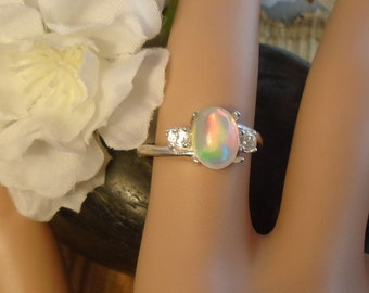 Light Sky Blue Ethiopian Fire Opal 2 Gemstone Accent Gems Ring, Sterling Silver, 1.45 Cts 9.00 x 7.50 mm Natural Welo Ethiopian Opal
